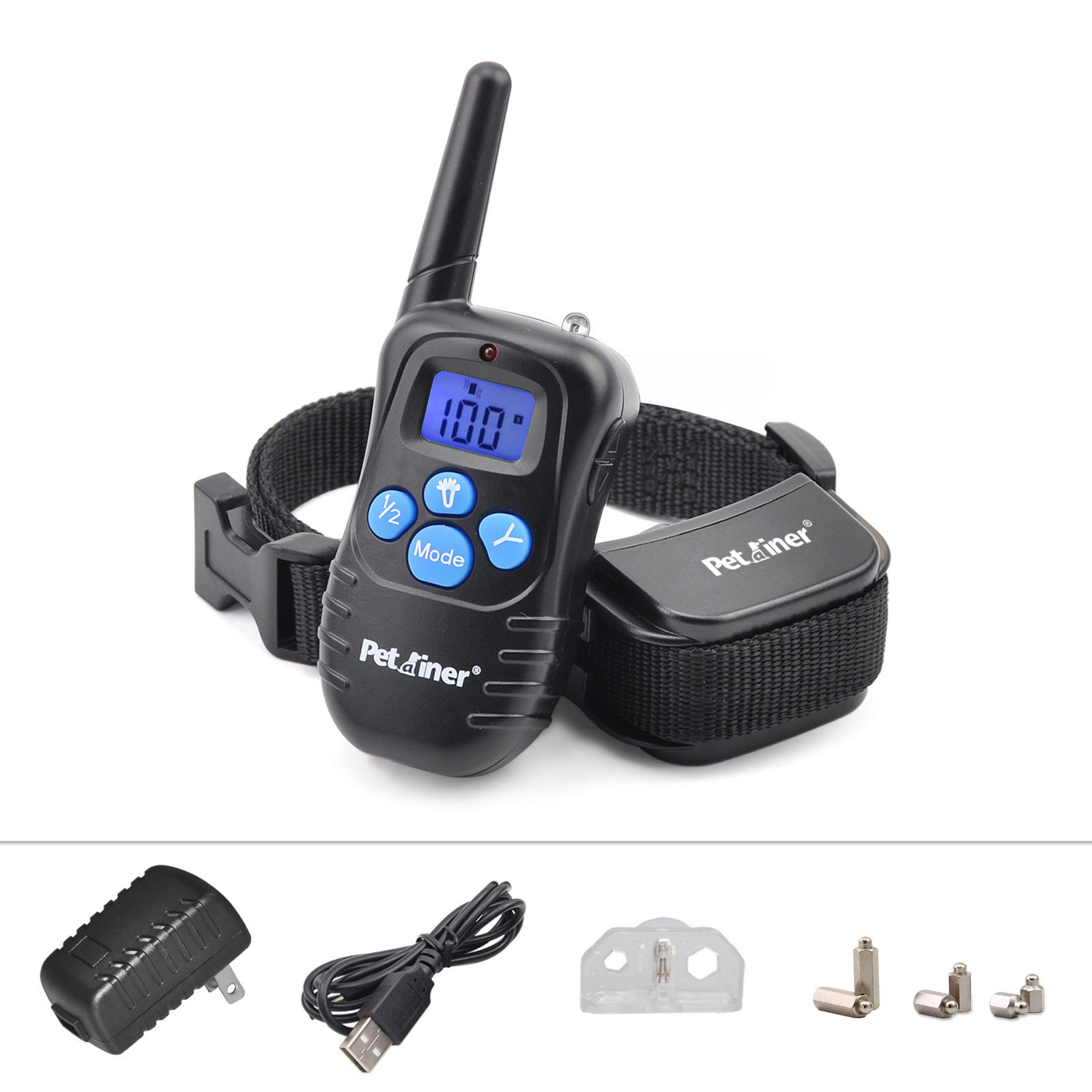 Petrainer PET998DRB1 Dog Training Collar Rechargeable and Rainproof 330 yds Remote Dog Shock Collar with Beep, Vibration and Shock Electronic Collar