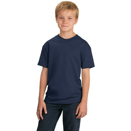 Port & Company Youth 5.4-oz Cotton T-Shirt. Navy. M.
