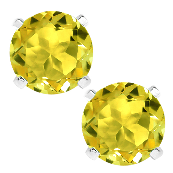 2.00 Ct 6mm Round Mystic Canary Topaz 925 Sterling Silver Earrings