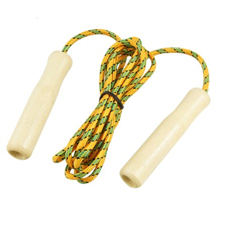 "Wooden Handle Keep Yellow Green Jumping Skipping Rope 84.6"" - image 1 de 1"