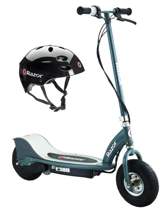 Razor E300 Electric 24V Motorized Scooter (Grey) & Youth Sport Helmet (Black) by Razor