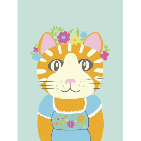 Fancy Animals II Whimsical Folk Animal Cat Portrait Nursery Kids Room Decor Print Wall Art By Chariklia Zarris