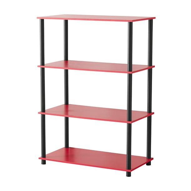 Mainstays No Tools 4 Shelf Standard Storage Bookshelf, Red
