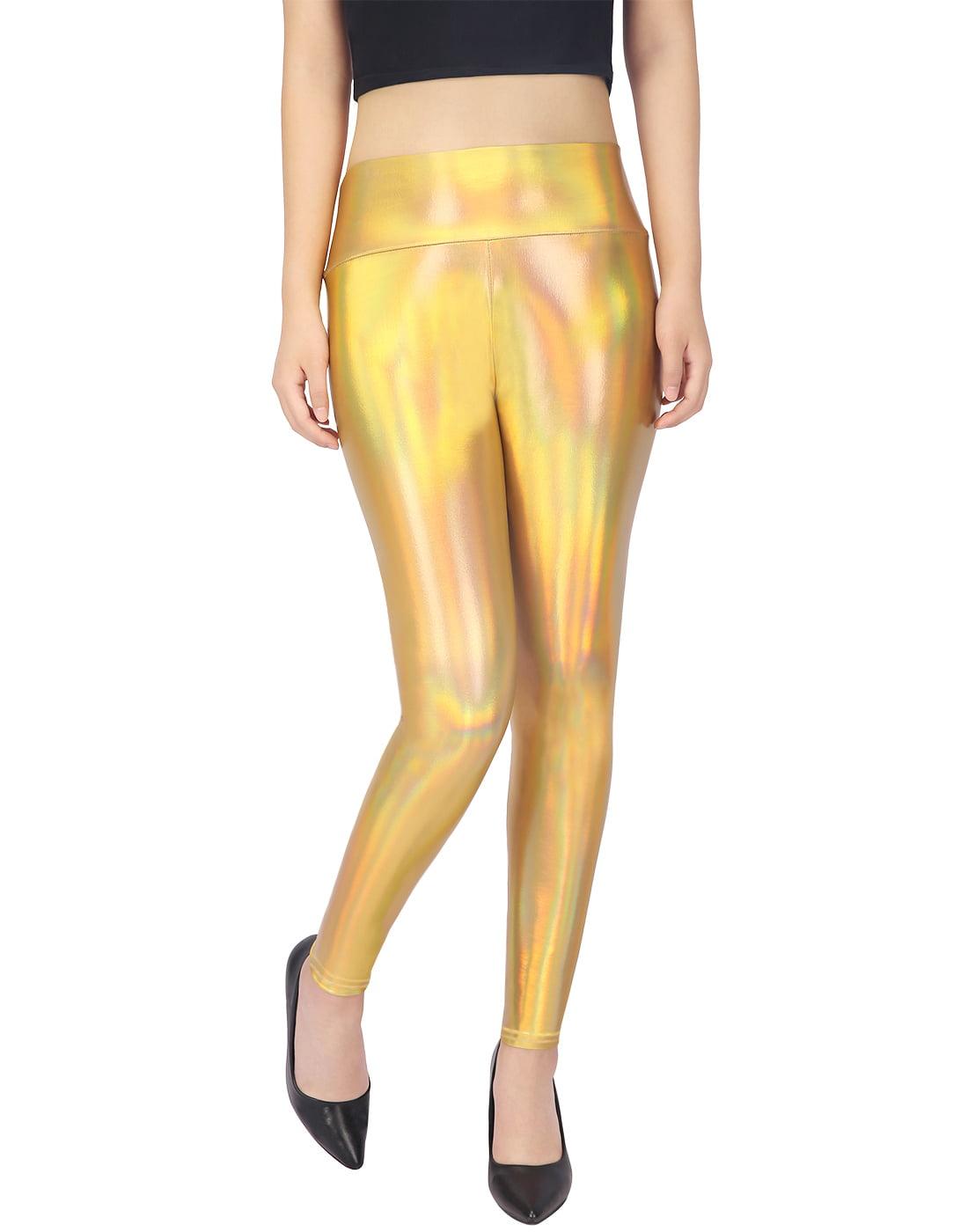 f8f44a2906d36 Hde womens shiny holographic leggings liquid metallic pants iridescent tights  gold large jpeg 450x450 Shiny gold