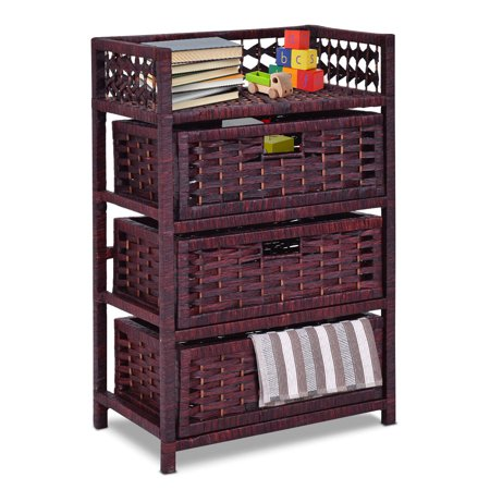 Gymax Storage Chest Tower Shelf 3 Drawer Wicker Baskets Storage - Wicker Storage Baskets