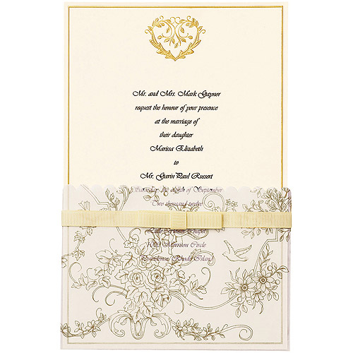 Wilton Invitation Kit 25pkg Gold Wedding Toile Walmartcom