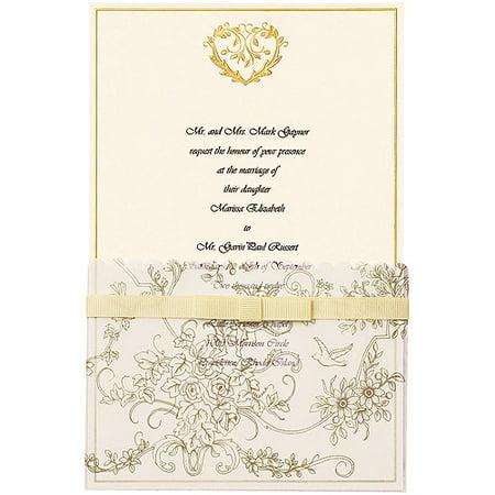 wilton invitation kit 25pkg gold wedding toile - Wilton Wedding Invitation Kits