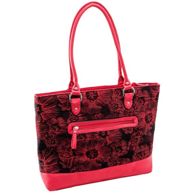 McKlein 11326 Aaryn Quilted Fabric with Faux Leather Tote, Red Floral