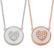 Fremada  Sterling Silver Mother of Pearl Cubic Zirconia Heart Necklace