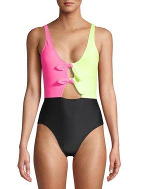 No Boundaries Juniors' Neon Colorblock One-Piece Swimsuit
