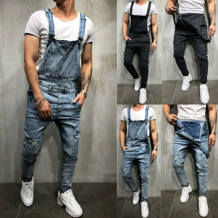 Men´s Distressed Denim Carpenter Overalls Bib Jumpsuits Moto Biker Jean Pants