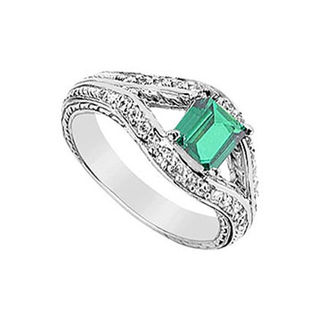FineJewelryVault UBUK420W10CZE-118 Frosted Emerald and Cubic Zirconia Ring : 10K White Gold - 1. 50 CT TGW - Size: 7