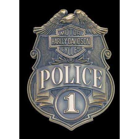 Police No Halloween Sign (Harley-Davidson Police Shield Tin Metal Sign 17 x 12 Inches)