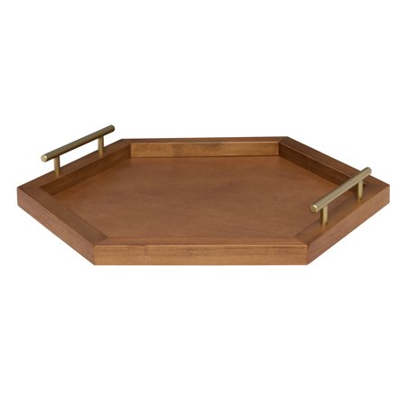 Brown Caramel (Kate and Laurel - Halsey Hexagon Decorative Wood Tray with Polished Metal Handles, Rustic Caramel Brown and Gold)
