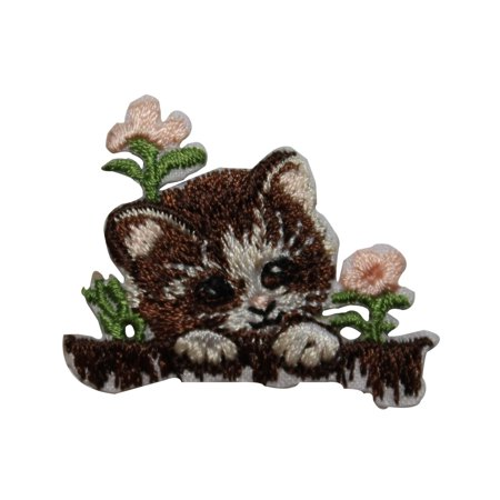ID 3623 Cute Kitten In Flowers Patch Cat Pet Kitty Embroidered Iron On Applique - Kitty's Flowers