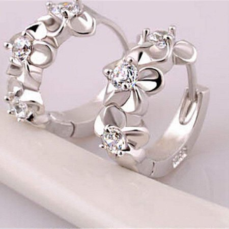 Women Girls Earrings Clip Plated 925 Silver Hypoallergenic Hinged Hoop Earrings Flower Rhinestone - image 2 of 7