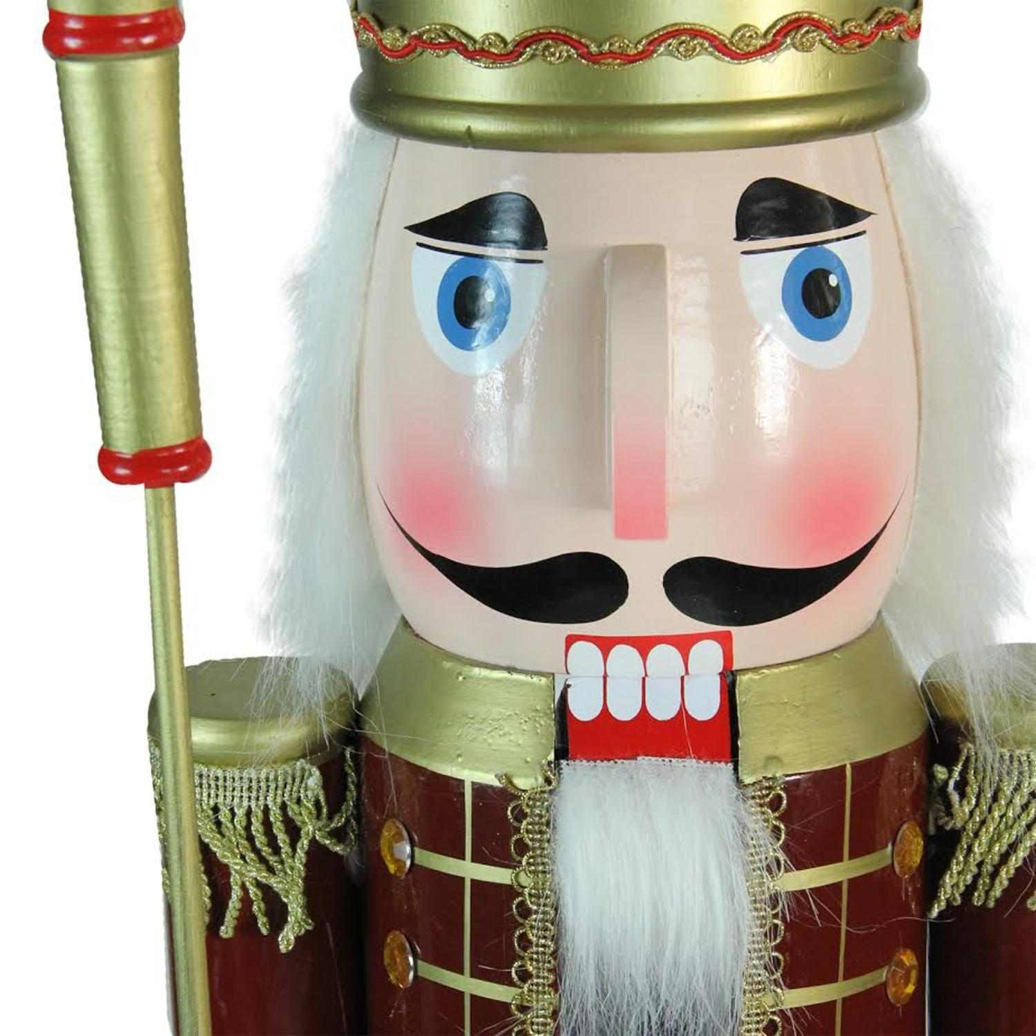 "48"" Decorative Burgundy Red Wooden christmas Nutcracker King with Scepter"