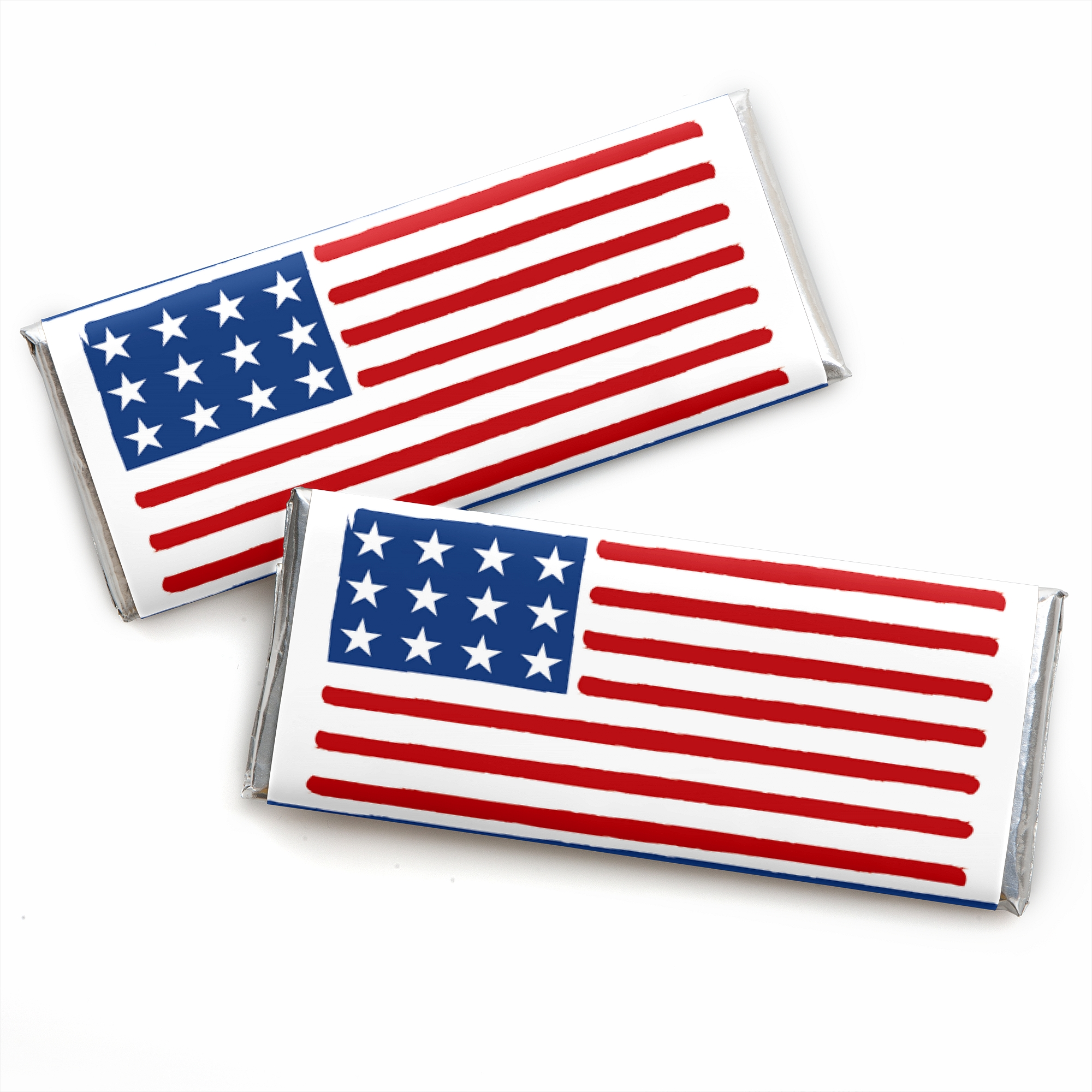 Stars & Stripes - Candy Bar Wrapper Memorial Day Patriotic Party Favors - Set of 24