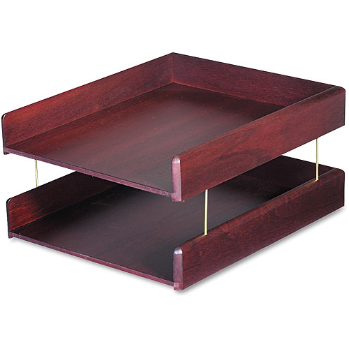 Carver Hardwood Double Letter Desk Tray, 2 Tier, Mahogany