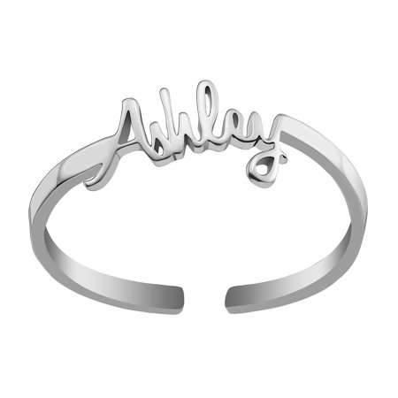 Personalized Women's Sterling Silver or Gold over Sterling Petite Script Name Ring Silver Script Name Ring