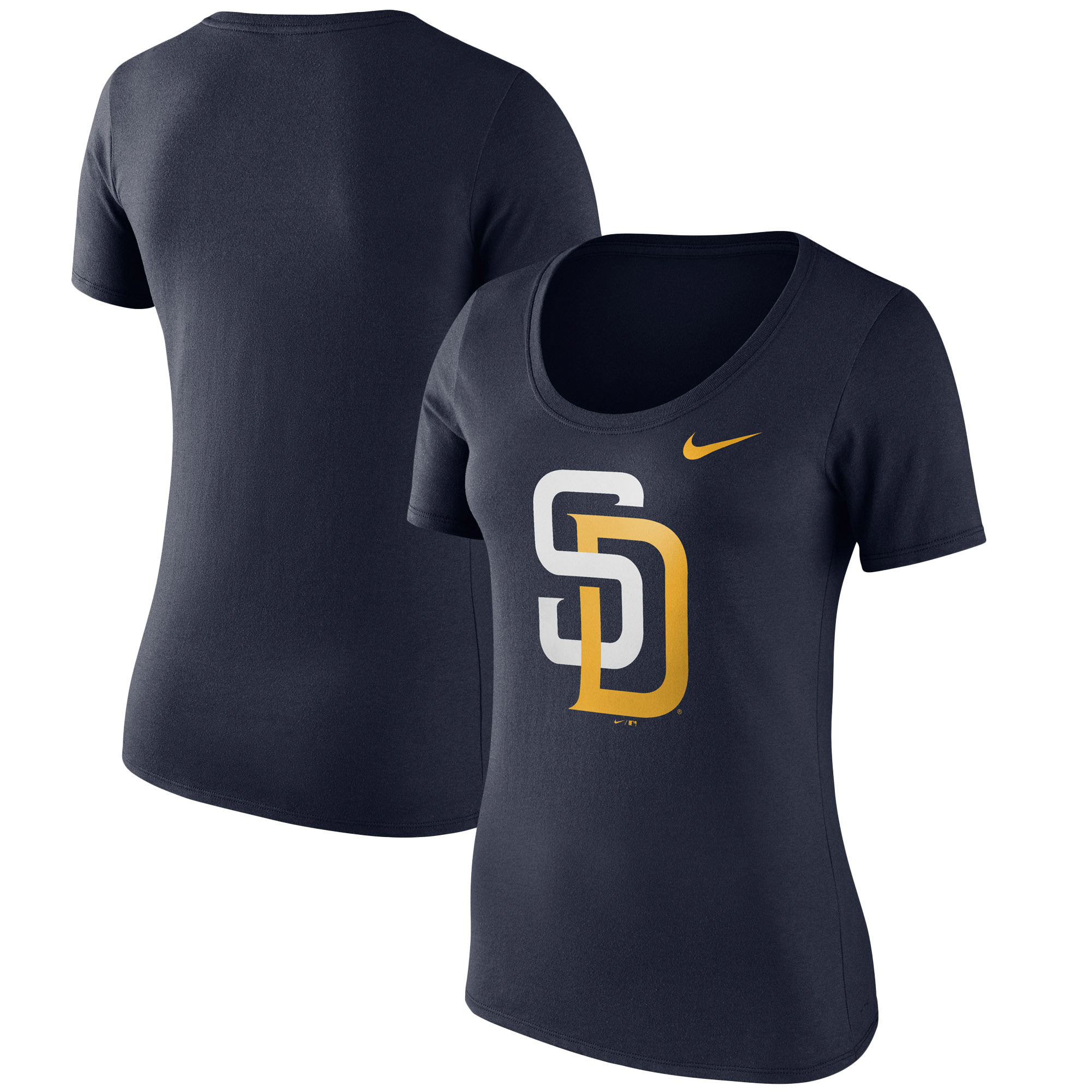 San Diego Padres Nike Women's Logo Scoop Neck T-Shirt - Navy