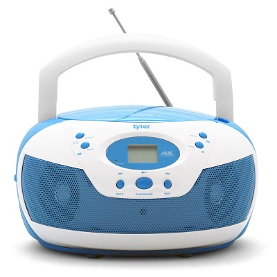 Tyler Portable Neon Blue Stereo CD Player with AM/FM Radio and Aux & Headphone Jack Link-In (TAU105-NBL)