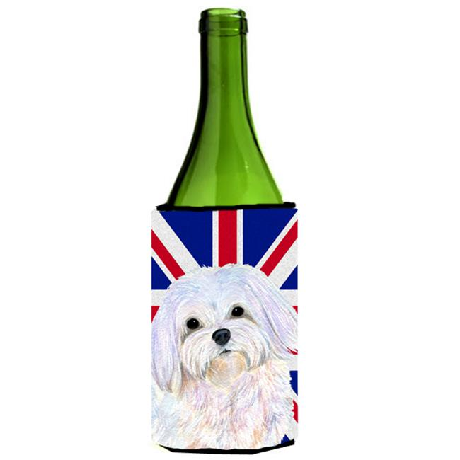 Maltese With English Union Jack British Flag Wine bottle sleeve Hugger - 24 Oz. - image 1 de 1