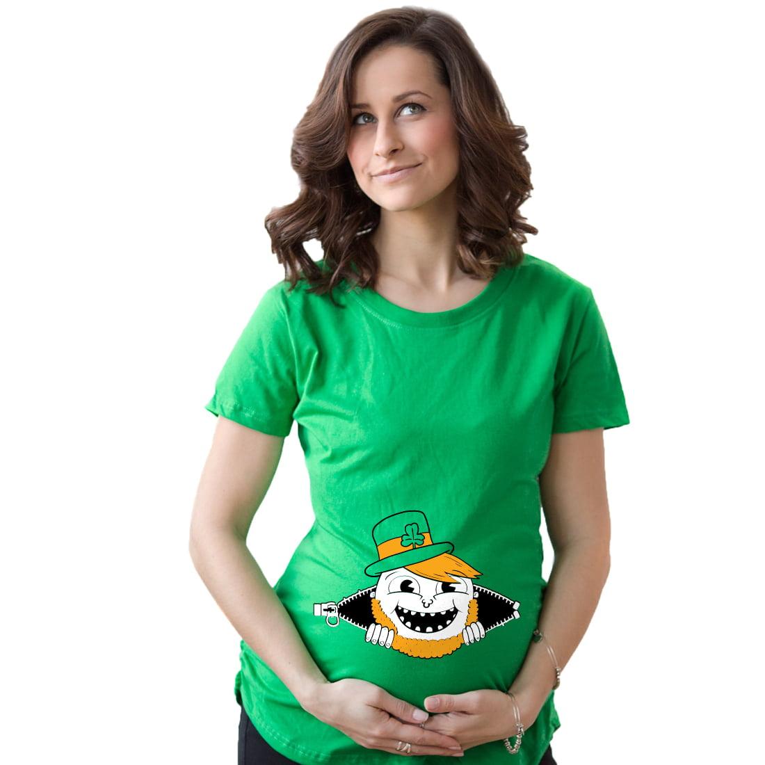 Crazy Dog TShirts - Maternity Peeking Leprechaun Funny T shirts Irish Pregnancy Announcement T shirt