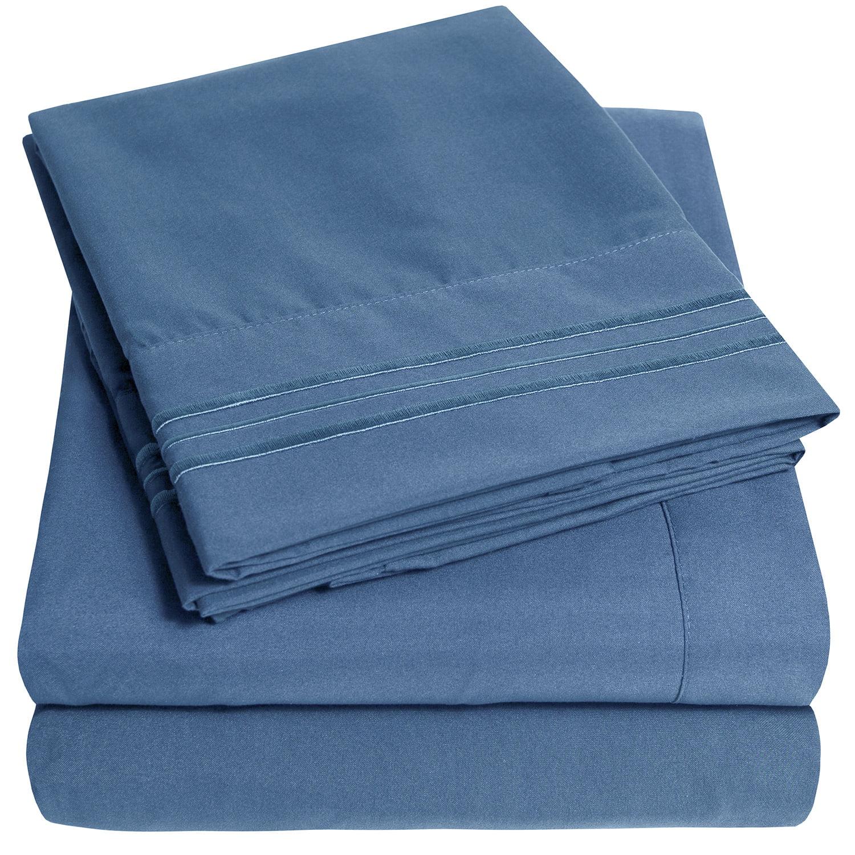 Queen size 1800 4PC Deep Pocket Embroidered Microfiber Sheet set Slate Blue