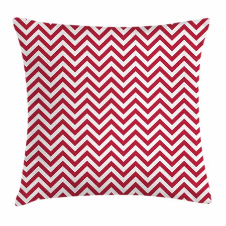 Red Throw Pillow Cushion Cover, Classical Style Chevron Zig Zag Stripes Retro Revival Pattern with Simplistic Design, Decorative Square Accent Pillow Case, 18 X 18 Inches, Ruby White, by Ambesonne