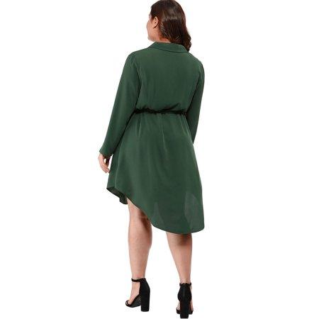 Agnes Orinda Women's Plus Size Button Down Lapel Vintage Shirt Dress Green 2X - image 3 of 6