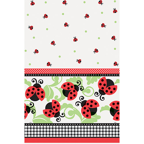 "Plastic Ladybug Party Table Cover, 84"" x 54"""
