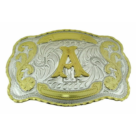 Initial Belt Buckle Letter A Alphabet Monogram Western Cowboy Rodeo Gold (Adidas Trophy Belt Buckle)