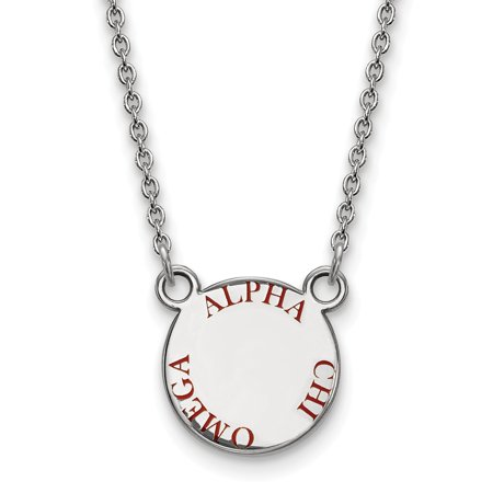 Solid 925 Sterling Silver Official Enamel Alpha Chi Omega Small Enl Pend Pendant Necklace Charm Chain - with Secure Lobster Lock Clasp 18