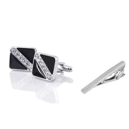 Men's Black Silver with 6 Rhinestones Cufflinks + Plain Silver Sparse Slash Brushed Tie Clip (2-in-1 Accessory (Brushed Silver Cufflinks)