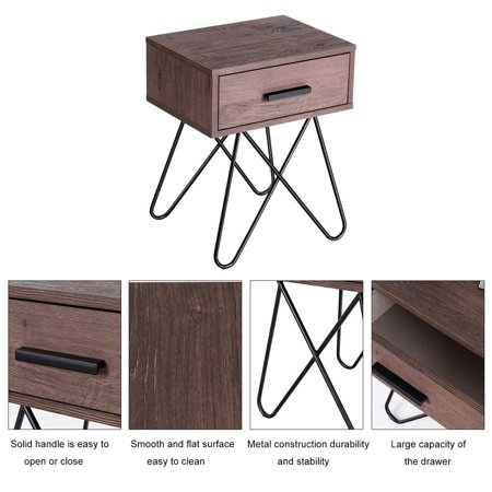 Gymax 2pc Nightstand Side End Coffee Table Storage Display