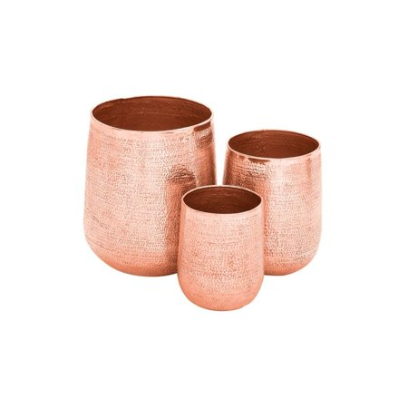 Studio 350 Set of 3 Modern 13, 16 and 21 Inch Round Copper Planters by