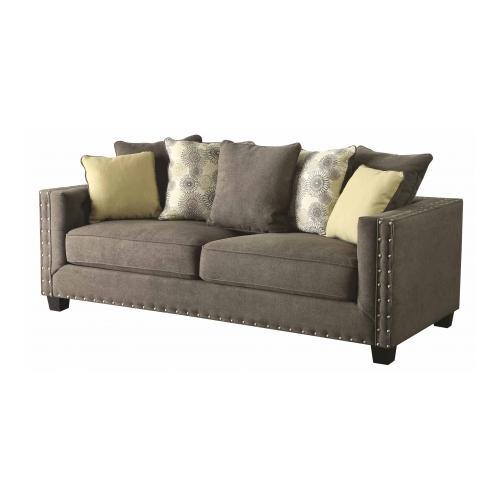 Coaster 501421 Kelvington Tuxedo Sofa With Nail Head Trim Dark Wood Legs  Loose Back Pillows And