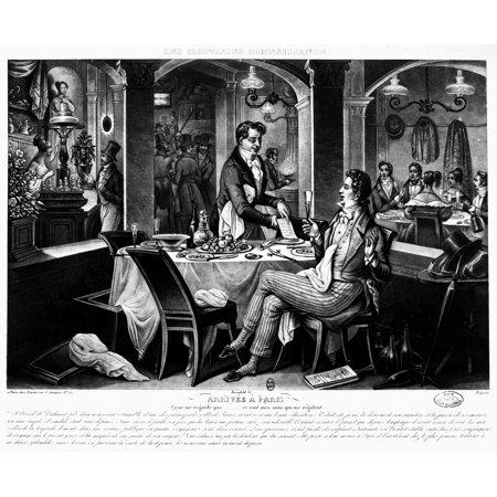 Paris Restaurant C1825 NJust Arrived In Paris That Does Not Concern Me My Friends Have Invited Me Lithograph French C1825 Rolled Canvas Art -  (24 x (Restaurants That Deliver Breakfast In My Area)