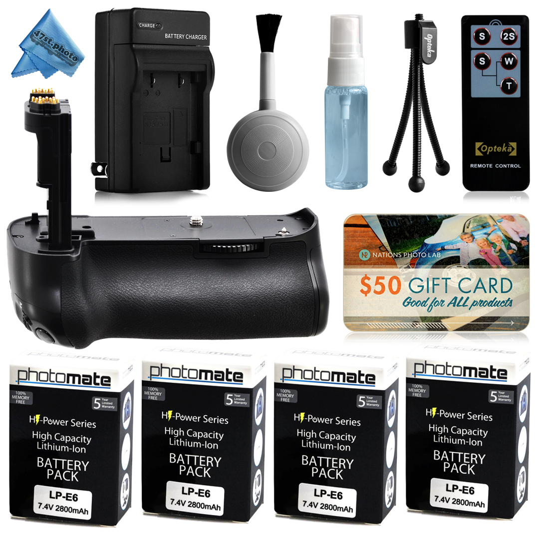 Multi Power Battery Grip + (4 Pack) Ultra High Capacity LP-E6 LPE6 Replacement Battery (2800mAh) + AC/DC Rapid Battery Charger with Car & European Adapter for Canon EOS 6D DSLR SLR Digital Camera