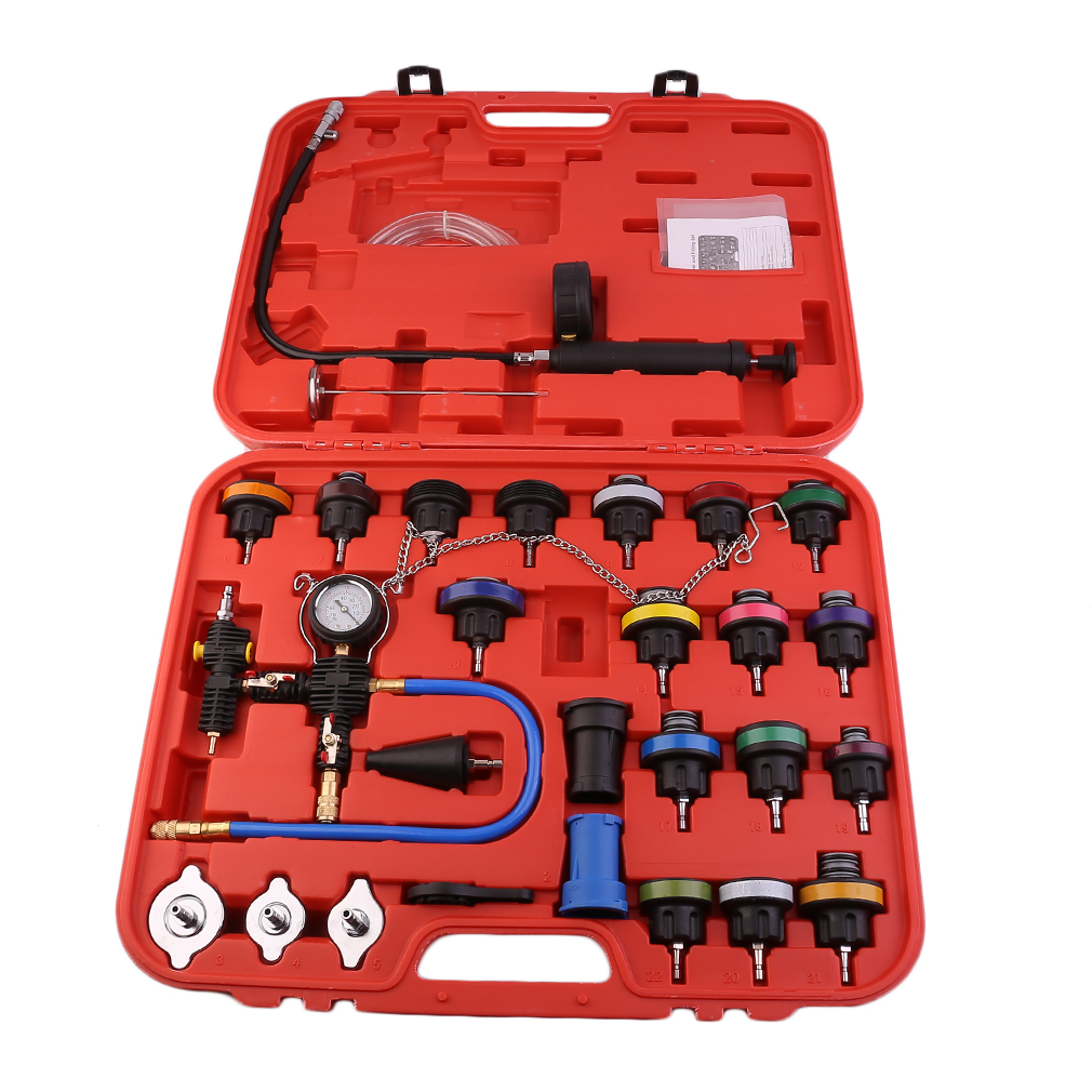 28pc Universal Master Radiator Pressure Tester kit Vacuum Purge Cooling Refill Kit by Music