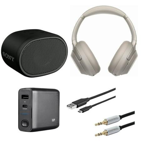 Sony WH1000XM3 Wireless Noise-Canceling Headphones (Silver) Bundle
