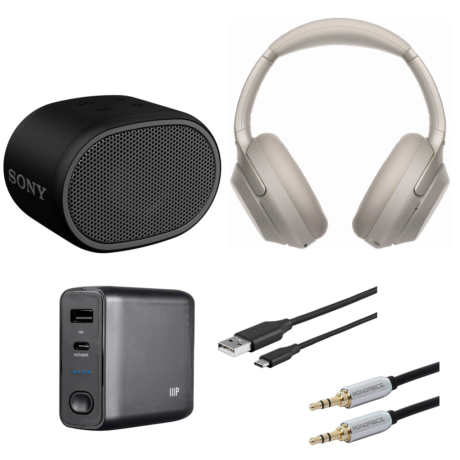 Sony WH1000XM3 Wireless Noise-Canceling Headphones (Silver) Bundle