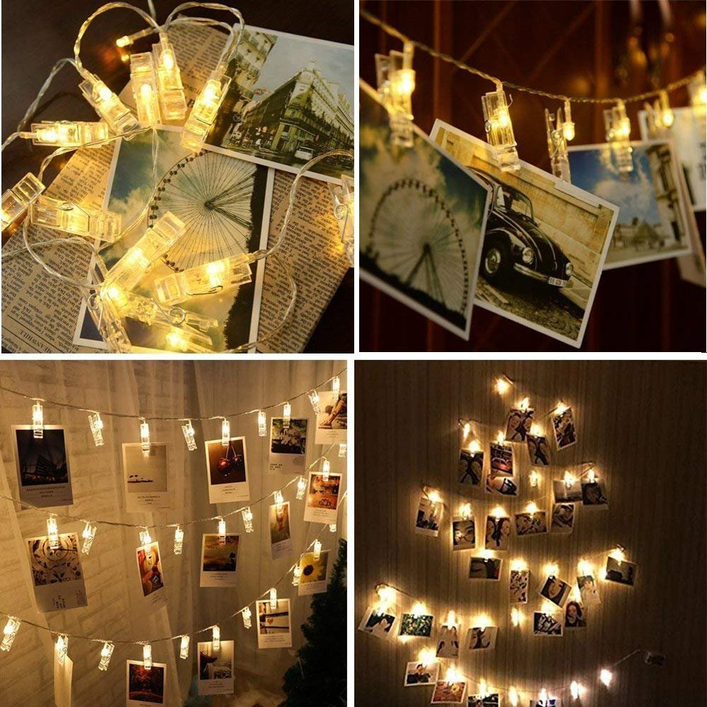 Twinkle Lights 20 LED Photo Clip String Lights Bedroom Wall Decor, Battery  Powered Decor Indoor/Outdoor, Fairy Lights for Dorm/Christmas