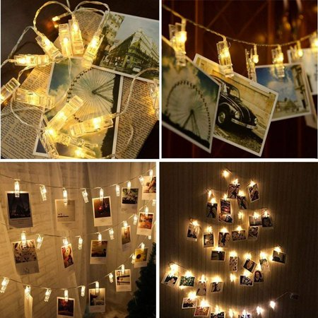 LED String Lights Battery Powered for Bedroom, 20 LED Photo Clip String Lights Home Decor Indoor/Outdoor, Fairy Lights for Dorm/Christmas Decoration/Birthday/Wedding Party Hanging Pictures, S10106