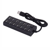 13 Ports High Speed USB 2.0 with External Power Adapter Hub for Desktop Laptop