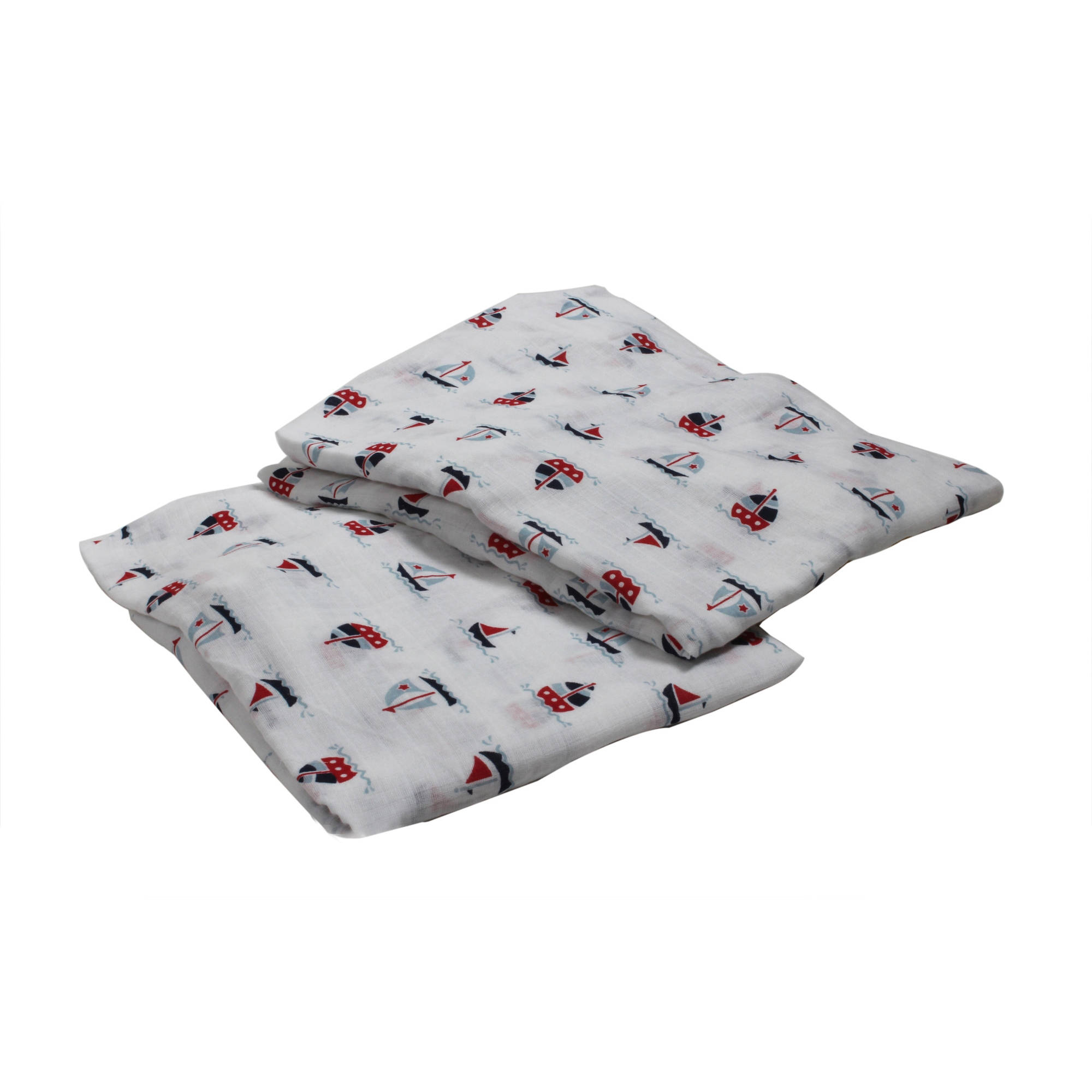 Bacati - Little Sailor Boats Crib/Toddler Bed Fitted Sheets 100% Cotton Muslin 2 Pack, Blue/Red