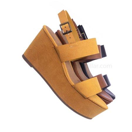 Twins0 by Bamboo, Platform Wedge Open Toe Sandal - Womens Plain Open Toe Summer