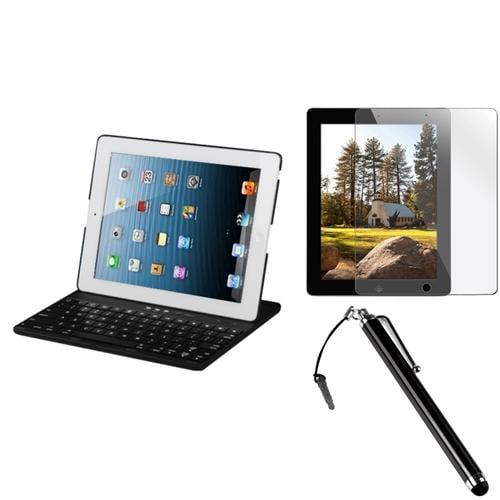 INSTEN Black detachable bluetooth wireless keyboard Case+Film+Pen For Apple iPad 4/3/2