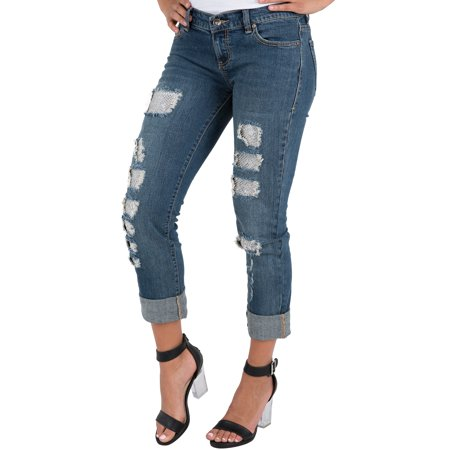 S&P Women's Stretch Denim Boyfriend Jeans Destroyed & Mended Cuffed Hem Silver Patch -